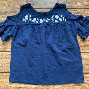 Navy Blue Flower Design Cold Shoulder Tee Shirt